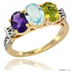 10K Yellow Gold Natural Amethyst, Aquamarine & Lemon Quartz Ring 3-Stone Oval 7x5 mm Diamond Accent