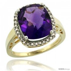 10k Yellow Gold Diamond Amethyst Ring 5.17 ct Checkerboard Cut Cushion 12x10 mm, 1/2 in wide
