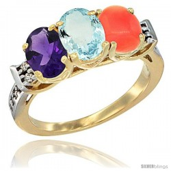 10K Yellow Gold Natural Amethyst, Aquamarine & Coral Ring 3-Stone Oval 7x5 mm Diamond Accent