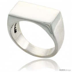 Sterling Silver Rectangular Signet Ring Solid Back Handmade -Style Xr168