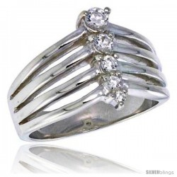 Highest Quality Sterling Silver 1/2 in (13 mm) wide Right Hand Journey Ring, Brilliant Cut CZ Stones