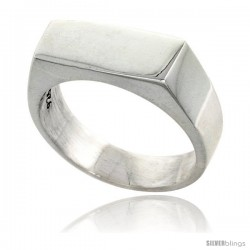 Sterling Silver Small Rectangular Signet Ring Solid Back Handmade