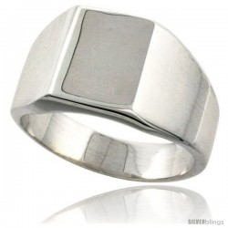 Sterling Silver Square Signet Ring Solid Back Handmade -Style Xr174