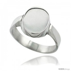 Sterling Silver Oval Signet Ring Solid Back Handmade -Style Xr175