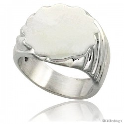 Sterling Silver Large Oval Signet Ring Solid Back Handmade