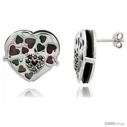 "Marcasite Heart Earrings in Sterling Silver, w/ Mother of Pearl, 11/16"" (18 mm) tall"