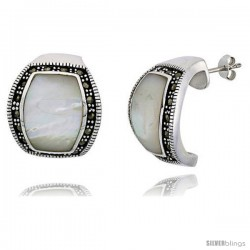 "Marcasite Earrings in Sterling Silver, w/ Mother of Pearl, 7/8"" (22 mm) tall"
