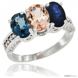 14K White Gold Natural London Blue Topaz, Morganite & Blue Sapphire Ring 3-Stone 7x5 mm Oval Diamond Accent