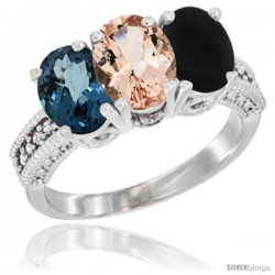 14K White Gold Natural London Blue Topaz, Morganite & Black Onyx Ring 3-Stone 7x5 mm Oval Diamond Accent
