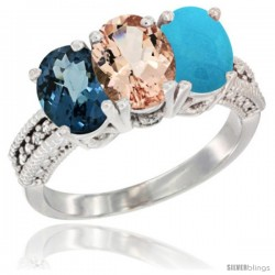 14K White Gold Natural London Blue Topaz, Morganite & Turquoise Ring 3-Stone 7x5 mm Oval Diamond Accent
