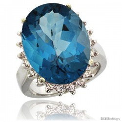 14k White Gold Diamond Halo London Blue Topaz Ring 10 ct Large Oval Stone 18x13 mm, 7/8 in wide