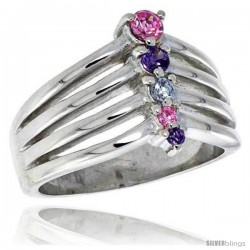 Highest Quality Sterling Silver 1/2 in (13 mm) wide Right Hand Journey Ring, Brilliant Cut Amethyst & Pink Tourmaline-colored