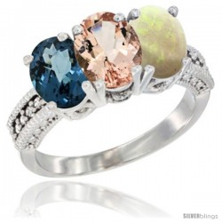 14K White Gold Natural London Blue Topaz, Morganite & Opal Ring 3-Stone 7x5 mm Oval Diamond Accent