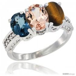 14K White Gold Natural London Blue Topaz, Morganite & Tiger Eye Ring 3-Stone 7x5 mm Oval Diamond Accent