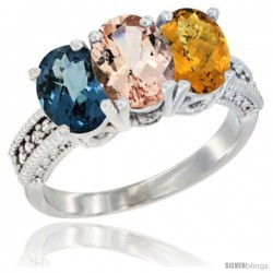 14K White Gold Natural London Blue Topaz, Morganite & Whisky Quartz Ring 3-Stone 7x5 mm Oval Diamond Accent