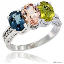 14K White Gold Natural London Blue Topaz, Morganite & Lemon Quartz Ring 3-Stone 7x5 mm Oval Diamond Accent