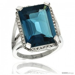 14k White Gold Diamond London Blue Topaz Ring 14.96 ct Emerald shape 18x13 mm Stone, 13/16 in wide