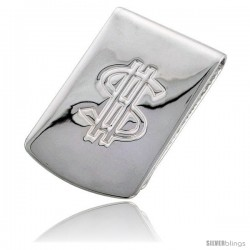Sterling Silver Dollar Sign Money Clip 1 in. x 1 3/4 in. (25 mm X 43 mm)