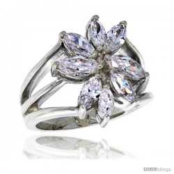 Highest Quality Sterling Silver 3/4 in (18 mm) wide Right Hand Flower Ring, Marquise Cut CZ Stones