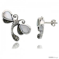 "Marcasite Dragonfly Earrings in Sterling Silver, w/ Pear-shaped Mother of Pearl, 1 1/16"" (27 mm) wide"