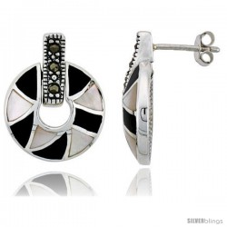 "Marcasite Doughnut Earrings in Sterling Silver, w/ Mother of Pearl & Black Onyx, 13/16"" (21 mm) tall"