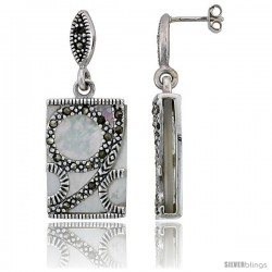 "Marcasite Rectangular Earrings in Sterling Silver, w/ Mother of Pearl, 1 9/16"" (40 mm) tall"