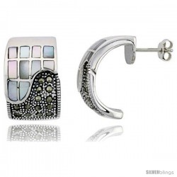 "Marcasite Rectangular Earrings in Sterling Silver, w/ Mother of Pearl, 13/16"" (21 mm) tall"
