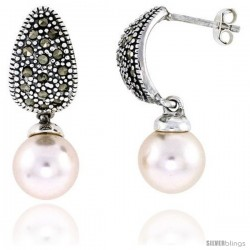 "Marcasite Earrings in Sterling Silver, w/ Faux Pearl, 1 1/8"" (29 mm) tall"