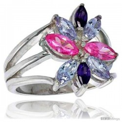 Highest Quality Sterling Silver 3/4 in (18 mm) wide Right Hand Flower Ring, Marquise Cut Alexandrite, Amethyst & Pink