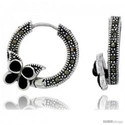 """Marcasite Butterfly Hoop Earrings in Sterling Silver, w/ Black Onyx, 13/16"""" (21 mm) tall"""