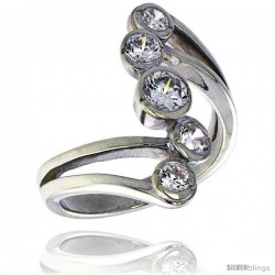 Highest Quality Sterling Silver 1 in (24 mm) wide Right Hand Ring, Bezel Set Brilliant Cut CZ Stones