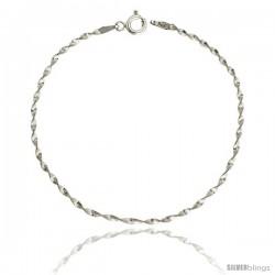 Sterling Silver Twisted Herringbone Chain Necklaces & Bracelets Nickel Free 2mm wide
