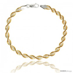 Sterling Silver Twisted Herringbone Chain Necklaces & Bracelets Two Tone Gold Finish Nickel Free 5mm wide, 16 - 30 in lengths