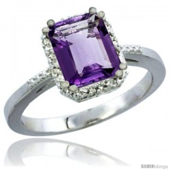 10K White Gold Natural Amethyst Ring Emerald-shape 8x6 Stone Diamond Accent