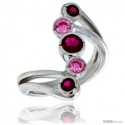 Highest Quality Sterling Silver 1 in (24 mm) wide Right Hand Ring, Bezel Set Brilliant Cut Ruby & Pink Tourmaline-colored CZ