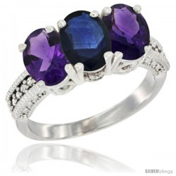 10K White Gold Natural Blue Sapphire & Amethyst Sides Ring 3-Stone Oval 7x5 mm Diamond Accent