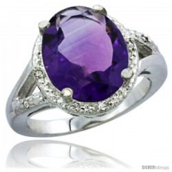 10K White Gold Natural Amethyst Ring Oval 12x10 Stone Diamond Accent