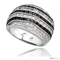 "Sterling Silver Striped Dome Ring w/ Black & White CZ Stones, 1/2"" (13mm) wide"
