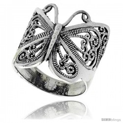 Sterling Silver Large Filigree Butterfly Ring