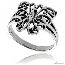 Sterling Silver Filigree Butterfly Ring, 11/16 in wide