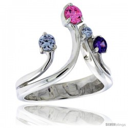 Highest Quality Sterling Silver 3/4 in (19 mm) wide Right Hand Ring, Brilliant Cut Alexandrite, Amethyst & Pink