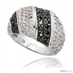 "Sterling Silver Striped Dome Ring w/ Black & White CZ Stones, 1/2"" (13mm) wide -Style Tr6706"