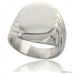 Sterling Silver Large Oval Signet Ring Solid Back Handmade -Style Xr179