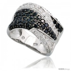 "Sterling Silver Freeform Band w/ Black & White CZ Stones, 7/16"" (11mm) wide"