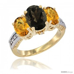 10K Yellow Gold Ladies 3-Stone Oval Natural Smoky Topaz Ring with Whisky Quartz Sides Diamond Accent