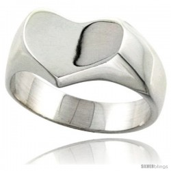 Sterling Silver Heart-Shaped Signet Ring Solid Back Handmade
