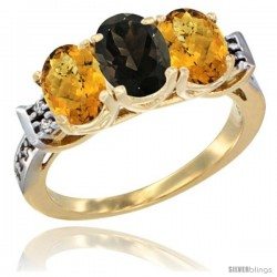 10K Yellow Gold Natural Smoky Topaz & Whisky Quartz Sides Ring 3-Stone Oval 7x5 mm Diamond Accent