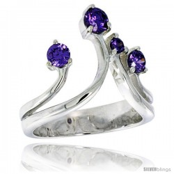 Highest Quality Sterling Silver 3/4 in (19 mm) wide Right Hand Ring, Brilliant Cut Amethyst-colored CZ Stones