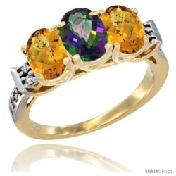 10K Yellow Gold Natural Mystic Topaz & Whisky Quartz Sides Ring 3-Stone Oval 7x5 mm Diamond Accent