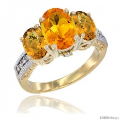 10K Yellow Gold Ladies 3-Stone Oval Natural Citrine Ring with Whisky Quartz Sides Diamond Accent